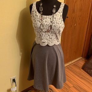Lauren Conrad dress grey and white lace